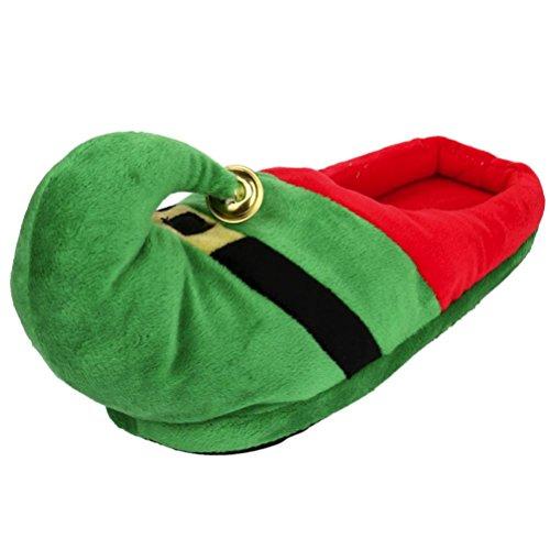 Gusspower Christmas Hausschuhe, Unisex Plush Cotton Home Slippers Winter Indoor Warm Christmas Slippers Shoes (XL, Grün)