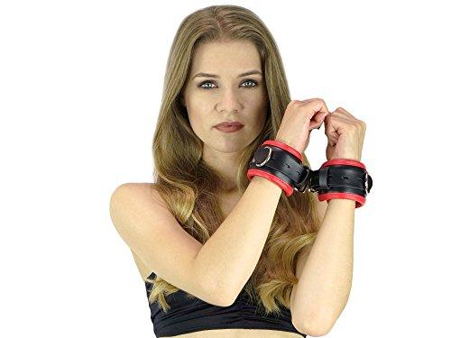 Handfesseln gepolstert und abschließbar schwarz rot Leder Fesseln