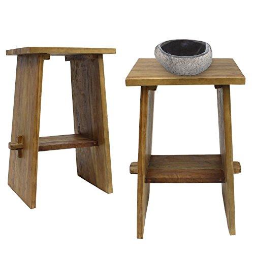Waschtisch Holz Waschbeckenunterschrank Tisch Badmöbel Badezimmermöbel Teakholz Gäste WC Hellbraun 45 cm Breite