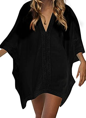 Leeko Sommer Strand kleid bademode swimsuit badesuit V-Ausschnitt Lose casual Beachwear Bikini Cover Up One-Size Minikleider Oberteile Bluse (Schwarz)