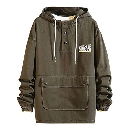 Fenverk Design Mode Hoodie Sweatshirt Herren Herren Herbst Winter Mode Schlank Entworfene Tops Herrenbekleidung Winter Warm Mantel Bequemes Sweatshirt M-5XL (H Grün,XXL)