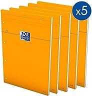 OXFORD Lot de 5 Bloc-Notes Orange A4+ Petits Carreaux 5mm 80 Feuilles Agrafées Couverture Carte Enduite Orange