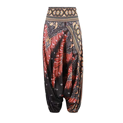 3D Print India Belly Dance Pants Wide Leg Loose Casual Women Yoga Trousers (Dance Leg Wide Pants)