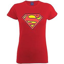 DC Comics Official Superman Shield Womens T-Shirt - Camiseta Mujer, color rojo, talla 38