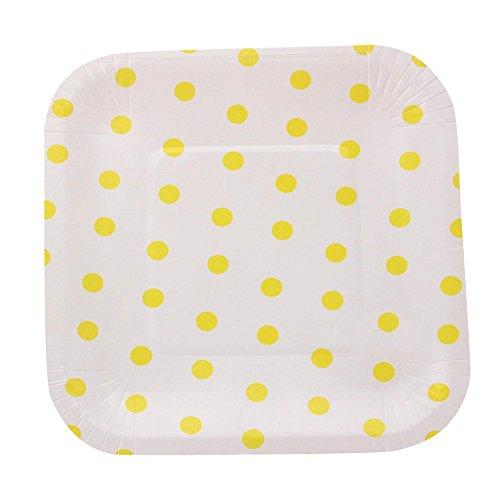 (Remeehi 12Solid Square Pappteller Party Geschirr Modern nachtischschalen Tortenplatte, gelb, Dot)