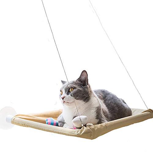 Wie Glas Bett (VANELIFE Katze Pet Hängematte, Starke Saugnäpfe Fenster Glas montiert Katze Sitzstange Entspannende bequem Sunny Sitz Bett, gelb)
