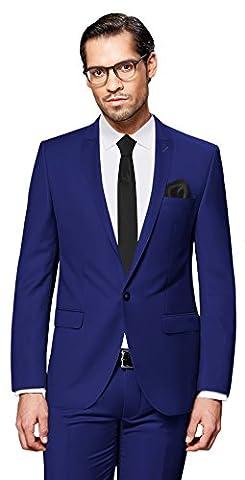 PABLO CASSINI Herren Anzug Fine Art - 3 teilig - Königsblau Blau Smoking Ein-Knopf Hochzeit Business PCS_4 (46)