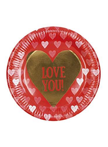 Boland- Platos de cartón Love You, 6 unidades, 23 cm, multicolor, BOL48005