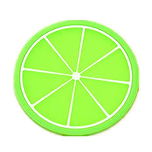 ZLDDE Frucht Untersetzer Set von 12pcs Anti-Rutsch PVC Glasuntersetzer Bunt Cup Pads Durchmesser 8.5CM Grün orange 8.5cm Green Oval Dutch Oven