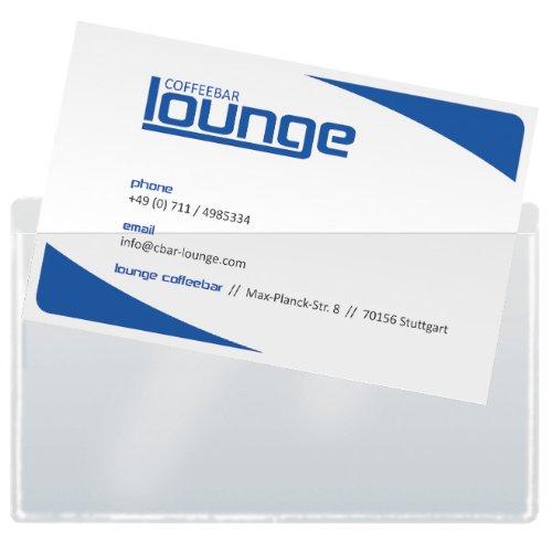 Sigel VZ115 Lot de 100 pochettes en film plastique pour carte de visite, autocollant, 9 x 5,5 cm, transparent