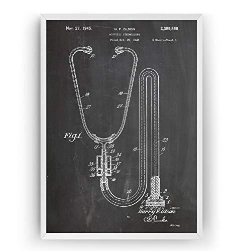 Stethoskop 1945 Patent Poster - Stethoscope Jahrgang Drucke Drucken Bild Kunst Geschenke Zum Männer Frau Entwurf Dekor Vintage Art Blueprint Decor - Rahmen Nicht Enthalten -