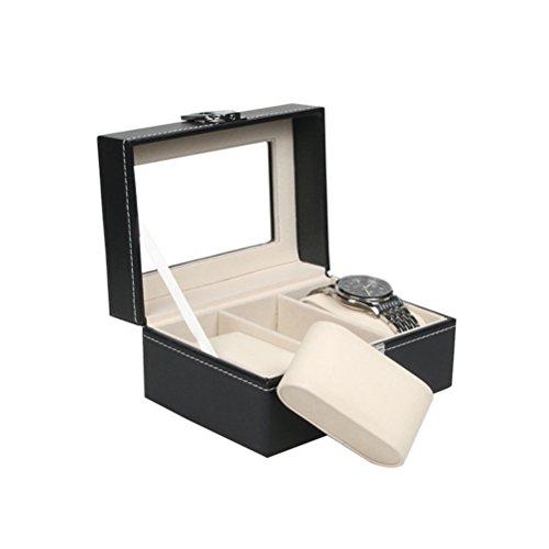 UEETEK Guarda Display Box Large 3 Grids Mens nero in pelle PU Display Jewelry Case Organizer Gift Box custodia con serratura e specchio