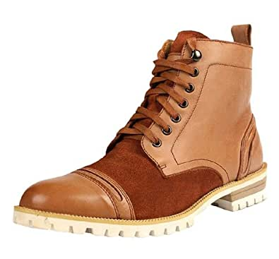 Men's Fashion Casual Genuine Leather Polo Lace Up High Shoe Boot Earthy Yellow Size 44 EU