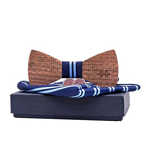Pajarita para hombre Trajes de corbata de lazo de madera de la raya de los hombres y de las mujeres Rompecabezas de bolsillo Cuffs cuadrados Caja de regalo masculina Corbata de lazo Pajarita de cuero