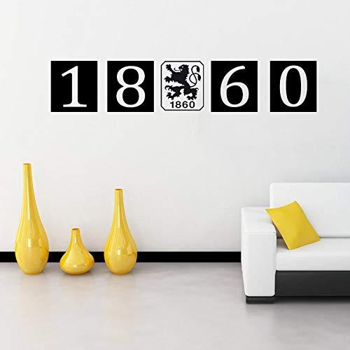 (AQGHY München 1860 Kreative Fußball Club Wandaufkleber Wohnzimmer Schlafzimmer Dekoration Aufkleber,schwarz,Einheitsgröße)