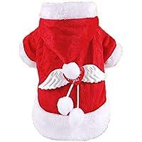 Fossrn Disfraz Navidad Perro Pequeño Sudaderas con Capucha y Alas de Angel Invierno Felpa Ropa Abrigo
