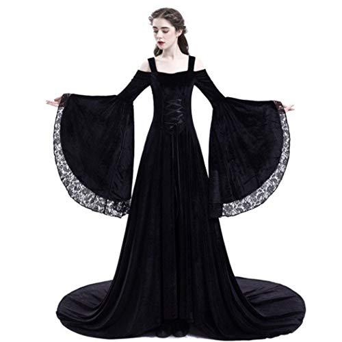 Volon 2018 Damen Kleid Mittelalter Retro Hochzeit Rock schulterfrei Langer Kostüm langärmelig schlank (M, Schwarz)