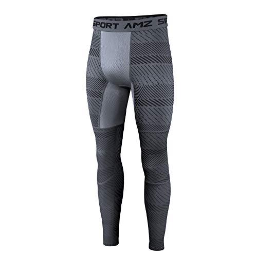 AMZSPORT Herren Kompressionshose Schnelltrocknende Laufhose Sporthose Atmungsaktive Trainingshose - Grau L