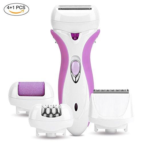 YOHOOLYO 4-in-1 Elektrischer Epilierer Haarentferner Elektrorasierer Schneider LED Anzeige für Beine Füße und Hautpflege Lila