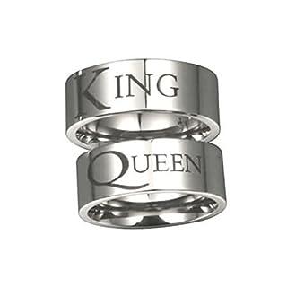 Daesar Verlobungsringe Eheringe Trauringe Edelstahl Damen Ringe Herren Ringe Graviert King Queen Breite 8MM Partnerring Verlobung Ringe Silber Damen Gr.60 (19.1) & Herren Gr.52 (16.6)