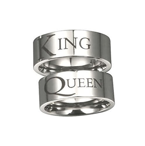 Beydodo 1 PCS Edelstahl Herren Ring Edelstahlring mit Gravur KING Breite 8 MM Rund Partnerring Verlobung Ring Silber Große ()
