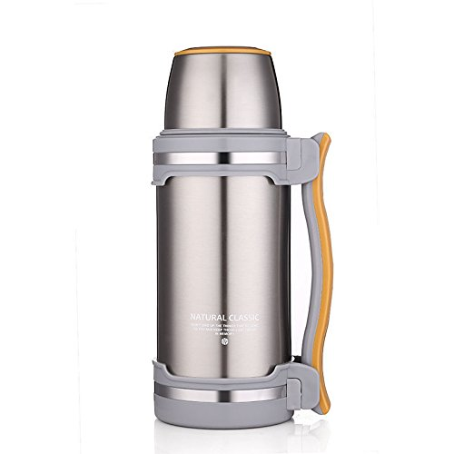 beyonda fmgybl0742L Edelstahl Isolierflasche Edelstahl doppelwandig (BPA-frei) mit Trink Becher für Wandern, Camping, Radfahren etc.. - silber