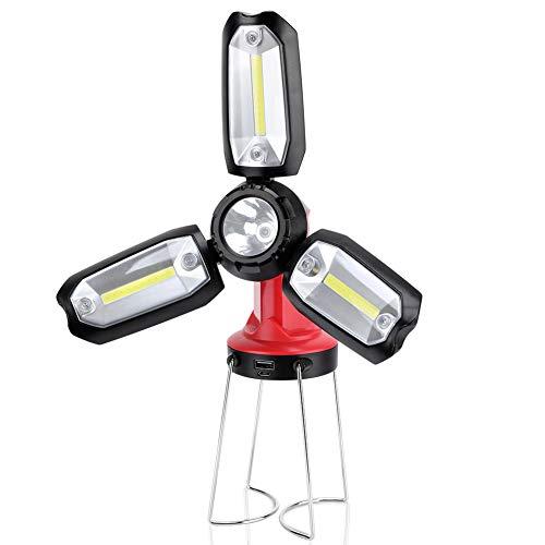 LED Campinglampe Camping Laterne USB Wiederaufladbare Tragbare Taschenlampe Suchscheinwerfer mit Ständer Multi Funktion Arbeitsleuchte mit 1200mAh Power Bank für Indoor Outdoor Wandern Arbeiten (Usb-blitz-kabel Spule)