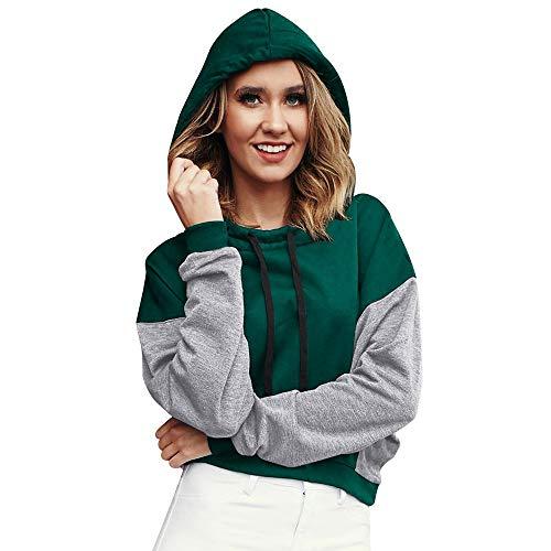WWricotta Women Autumn Patchwork Sweatshirt Pullover Splicing Shirt Hoodie Blouse (Grün,S) Womens Denim-jumper