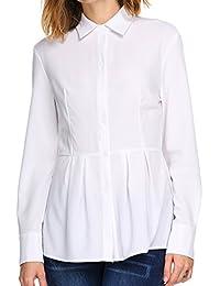 98359556ae2b03 Meaneor Damen Bluse Langarm Mit Schößchen Basic Hemdbluse Slim Fit  Einfarbig Oberteil Stretch Tailliert Shirtbluse Bügelfrei für Büro…
