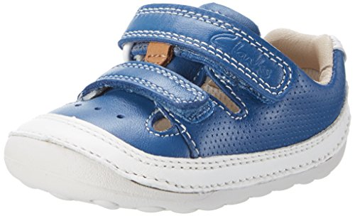 Clarks Baby Jungen Tiny Boy Krabbel-& Hausschuhe, Blau (Blue Leather), 21 EU