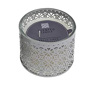 AiO-S - OK Duftkerze im Glas mit Ornamente Fresh Linen weiß ø 11 cm XL Scented Candle Votivkerze