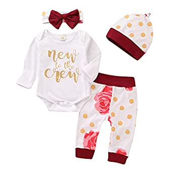 Mikrdoo Baby Girl Boy Clothe Set New to The Crew Print Long Sleeve Romper + Striped Pants + Hat + Headband 4pcs Outfits (0-3 Months, F)