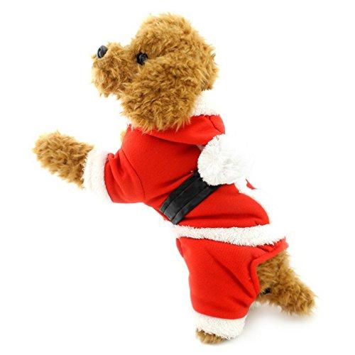 (Ranphy Weihnachts-Kostüm für kleine Hunde, mit Kapuze, Weihnachtsmann-Motiv, mit Kapuze, warme Winterkleidung)