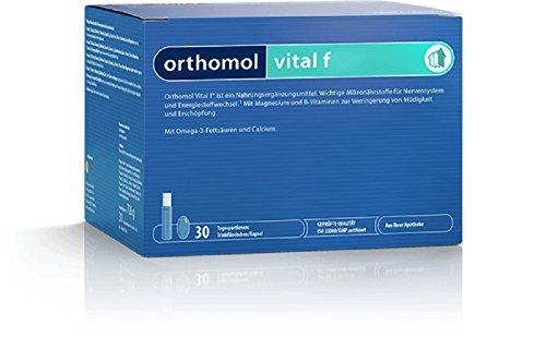 Orthomol vital f 30 Trinkampullen & Kapseln - Vitamin Komplex im Trinkfläschchen für Frauen bei Müdigkeit & Erschöpfung (Blut-orangen-aroma)