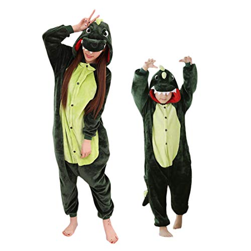 uit Dinosaurier Kostüme Overall Pyjama Jungen Mädchen Tierkostüme Onesie Schlafanzug Grün - 85 ()