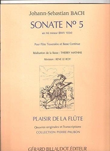 Partitions classique BILLAUDOT BACH JEAN-SEBASTIEN - SONATE N.5 EN MI MINEUR BWV 1034 - FLUTE ET PIANO Flûte traversière