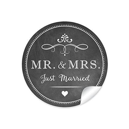 """2er Set 2 Bögen a 24 STICKER: 48 Retro Hochzeitsaufkleber""""MR. & MRS. - Just Married"""" (A4 Bogen) im""""Kreide-Tafel-Look"""" in anthrazit im Vintage Style zur Hochzeit • Sticker (Format 4 cm, rund, matt) 10"""