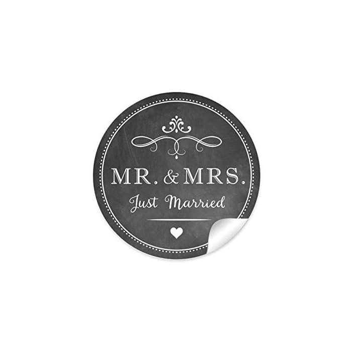 """2er Set 2 Bögen a 24 STICKER: 48 Retro Hochzeitsaufkleber""""MR. & MRS. - Just Married"""" (A4 Bogen) im""""Kreide-Tafel-Look"""" in anthrazit im Vintage Style zur Hochzeit • Sticker (Format 4 cm, rund, matt) 1"""