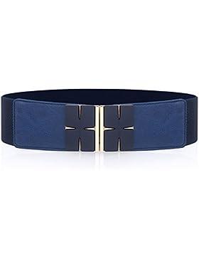 Viento geométricos moda mujer guillotina ancha elástica decorar vestir cintura cinturón de sello