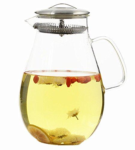 64 oz Pitcher verre d'eau avec couvercle en acier inoxydable, verre Bouilloire, thé glacé Pitcher, jus Théière