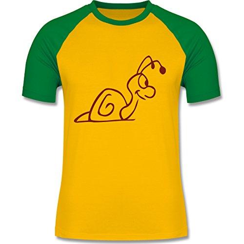Sonstige Tiere - Schnecke - zweifarbiges Baseballshirt für Männer Gelb/Grün