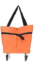 Hemiza Foldable Shopping Travel Dual Wheel Waterproof Trolley Bag (Multicolor)