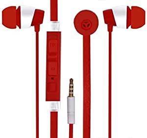 Mobile Link In-ear Flat Wired Headphone/Earphone/Stereo Headphone (Red) with High Quality Sound/Deep Bass 3.5MM Jack Compatible for ZTE Blade X3