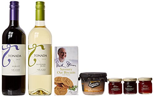 The Deluxe Squires Wooden Wine Chest Gift Food Hamper with 2 x 750ml Tonada Wines and gourmet food items - Perfect gift for Birthday, Retirement, Corporate present