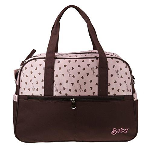 Wickeltasche Babytasche Pflegetasche Tasche Braun Baby Geschenkidee Multifunktionale Mama-Paketbeutel Druck - Rosa