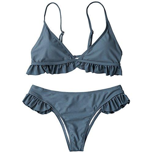 Langstar Ruffle Padded Plunge Bikini Set Rüschenbesatz Push Up Bandeau Bademode Einfarbig Badeanzug