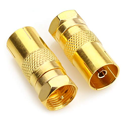 NANYI F-Stecker Stecker auf Koaxialbuchse Buchse Adapter, TV-Antenne Koaxialkabel F-Steckverbinder Adapter Satellite F-Typ Schraubanschluss Buchse auf HF-Koax-Buchse Konverter -2Pack (F-typ-adapter)