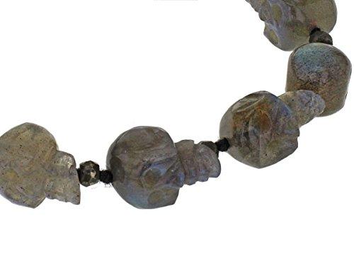 Jade Jagger sculpté à la main avec Labradorite et crânes Pyrite plaqué martelé Multi Skull 18 Bracelet Perles cm Plaqué argent