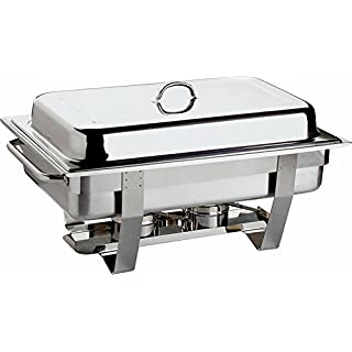APS 11686 Chafing Dish Set - Profi-, 61 x 31cm, Edelstahl rostfrei inkl. GN-Behälter 1/1, 9 ltr., + 2x GN-Behälter 1/2, 3,5 ltr. 2 Brennpastenbehälter, im Farbkarton