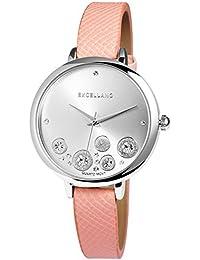 Trend de Wares de mujer reloj de pulsera plata claro de color rosa brillantes analógico de cuarzo metal piel mujer reloj